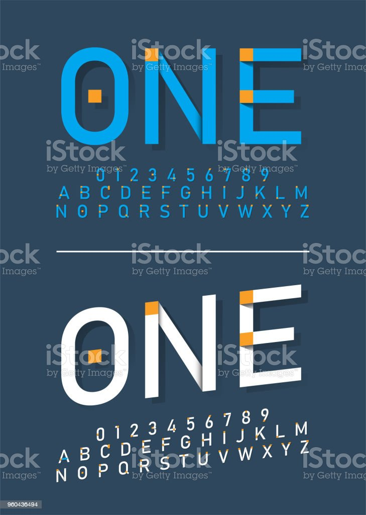 Modern Alphabet Fonts And Numbers Typography Font With Shadow Vector