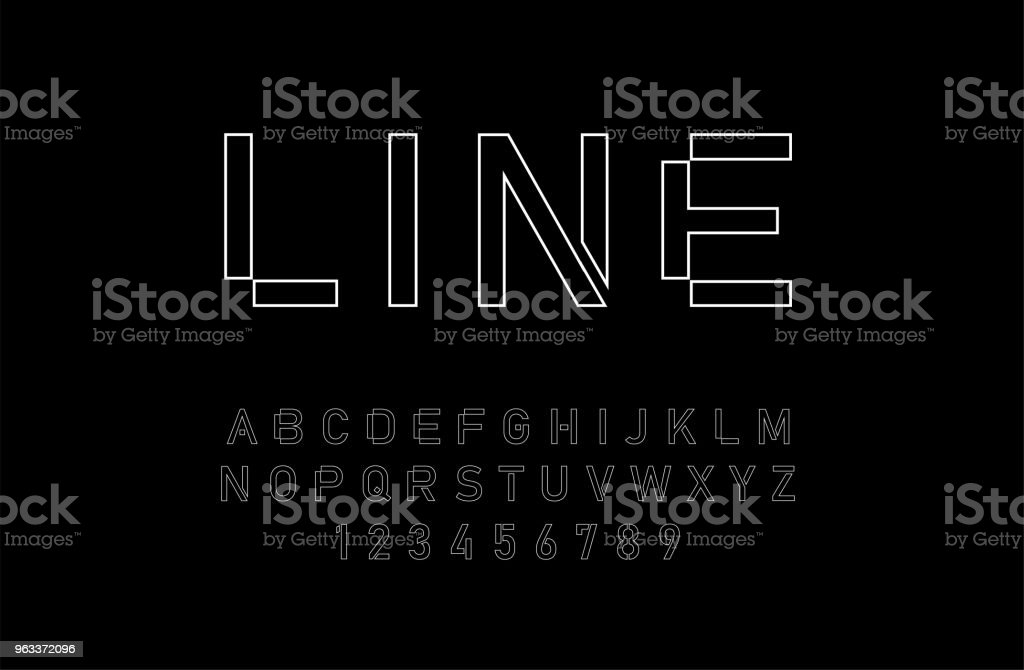 modern alphabet thin line fonts and numbers. designs for logo, Poster, Invitation, etc. Typography font uppercase and numbers. vector illustrator - Grafika wektorowa royalty-free (Alfabet)