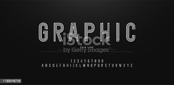 modern alphabet thin line fonts and numbers. Typography urban font uppercase and number. vector illustration