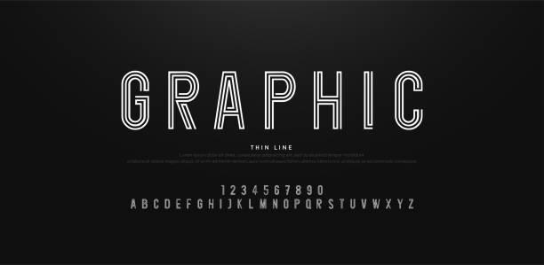 современный алфавит тонкой линии шрифтов и чисел. типография городского шрифта uppercase и номер. вектор иллюстративный - алфавит stock illustrations