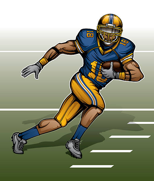 Modern American Football Player This is a vector illustration of a modern American football player running with the football on a field. All of the colors are grouped together, so the uniform colors, etc. can be easily changed. american football uniform stock illustrations