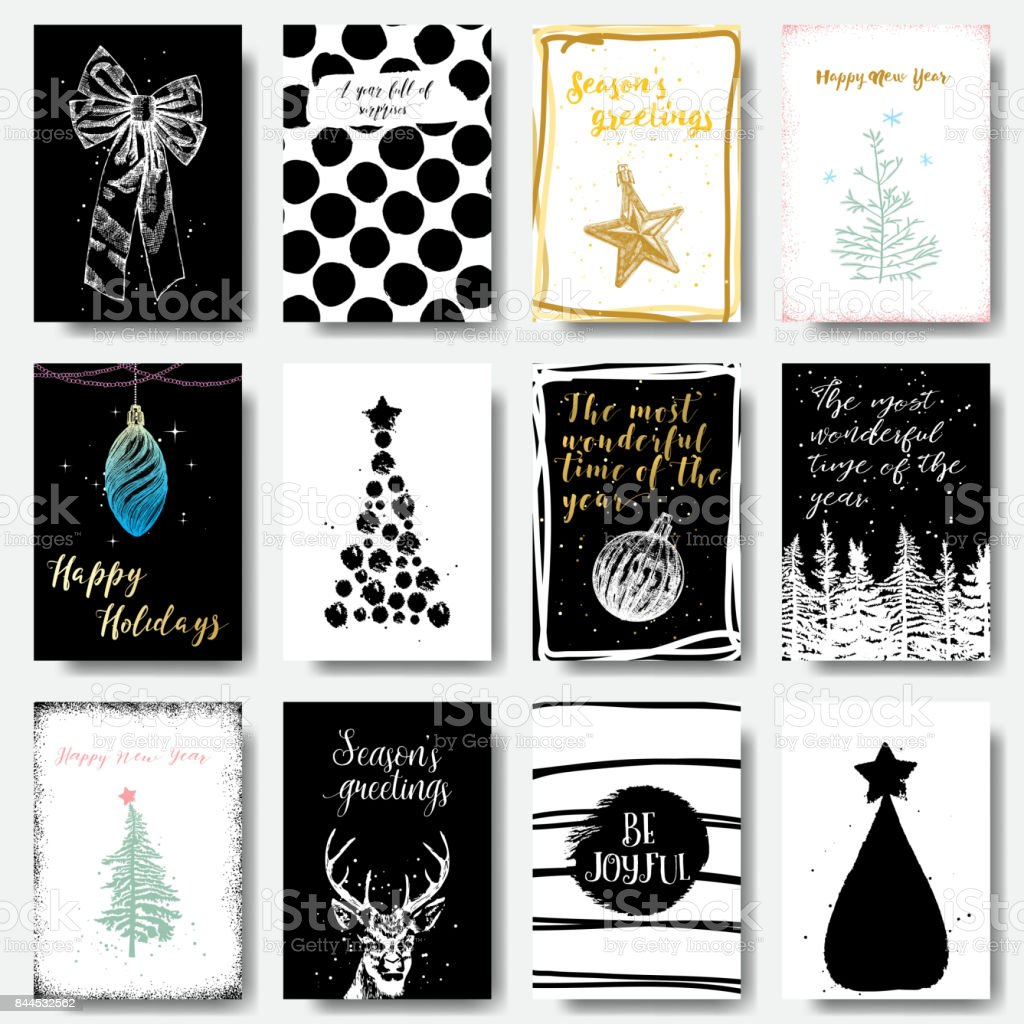 modern and classic creative christmas cards in black gold and white vector illustration royalty