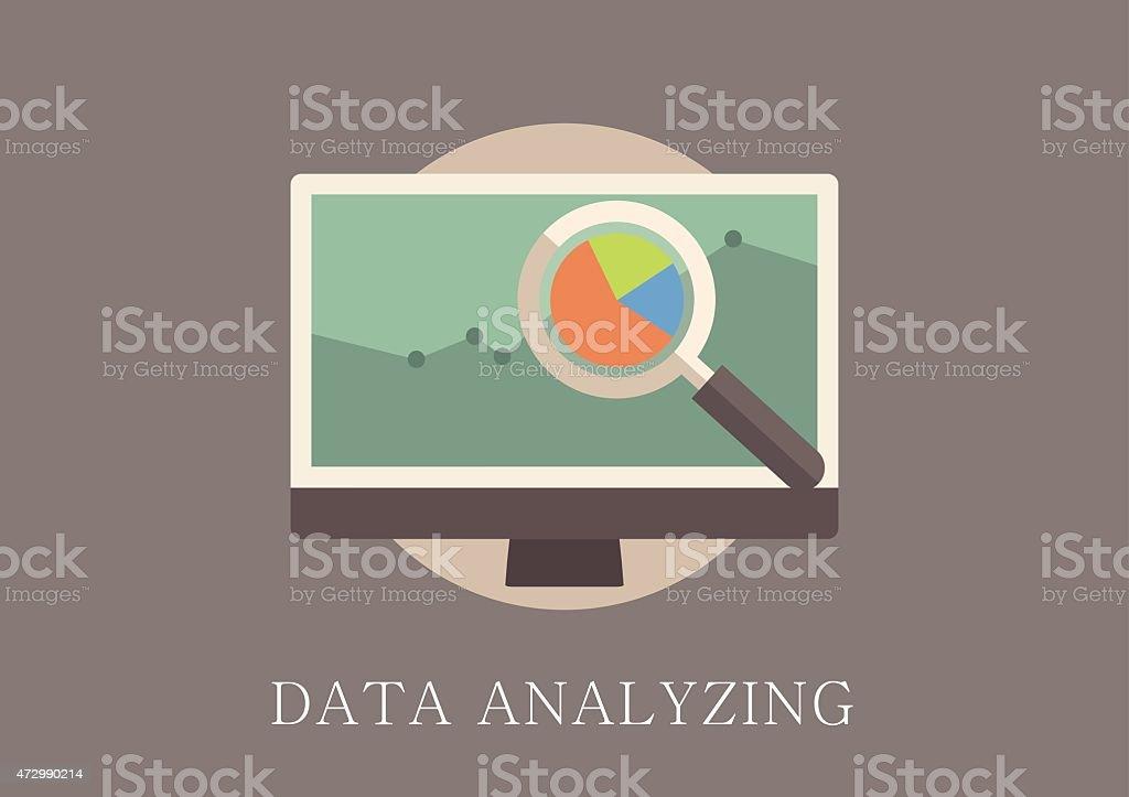 Classique et moderne design plat icon concept d'analyse de données - Illustration vectorielle