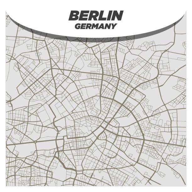 bildbanksillustrationer, clip art samt tecknat material och ikoner med modern och kreativ platt stad street karta över berlin tyskland - berlin street