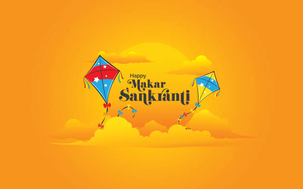 modern and creative happy makar sankranti festival background - tradycyjny festiwal stock illustrations