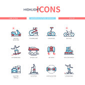 Modern and future vehicles - line design style icons set. Urban transport idea. Motor scooter, folding bike, gyropode, hoverboard, jet pack, roller skates, electric car, gyroscooter, longboard