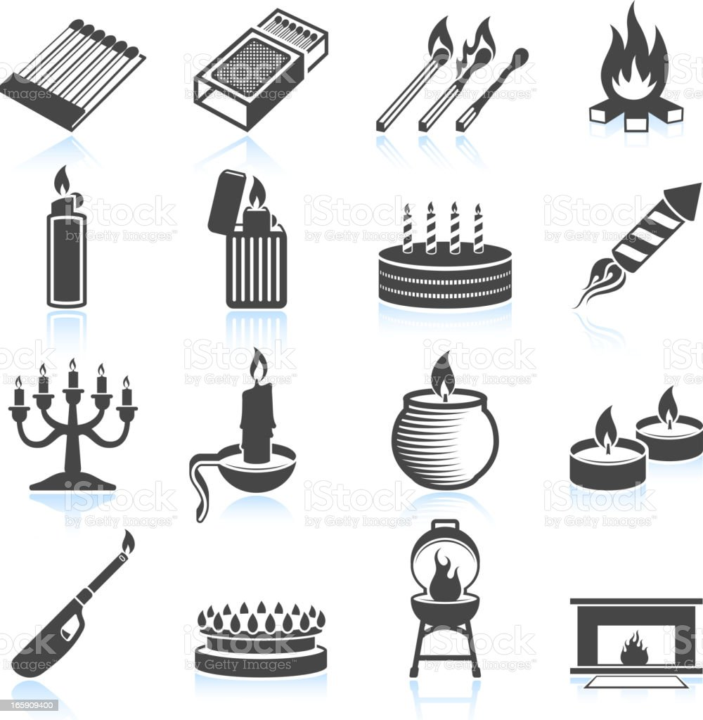 Modern and Old Usage for Fire black & white icons vector art illustration