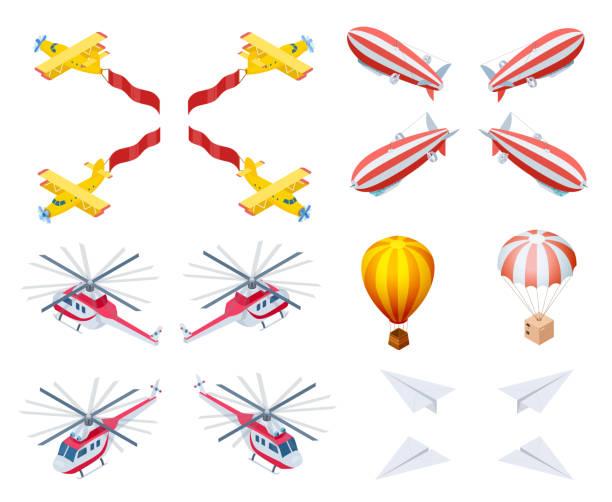 현대와 복고 항공기 아이소메트릭 벡터 아이콘 - 낙하산 항공 비행체 stock illustrations