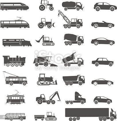 Modern and retro transport vector silhouettes collection. Isolated on white