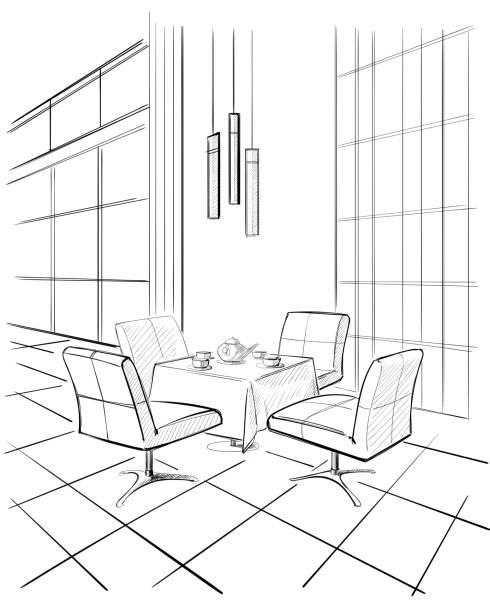 Modernes und einfaches Café-Interieur. – Vektorgrafik