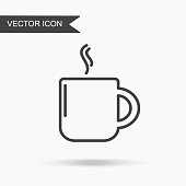 Modern and simple vector illustration of coffee mug icon with aroma. Flat image with thin lines for application, website, interface, business presentation, infographics on white isolated background.