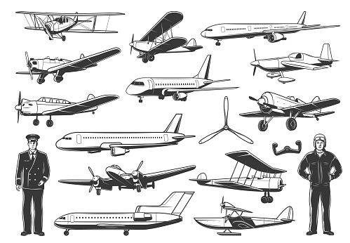 Modern and vintage airplanes, pilot vector