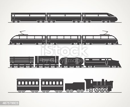 Modern and vintage train silhouette vector collection