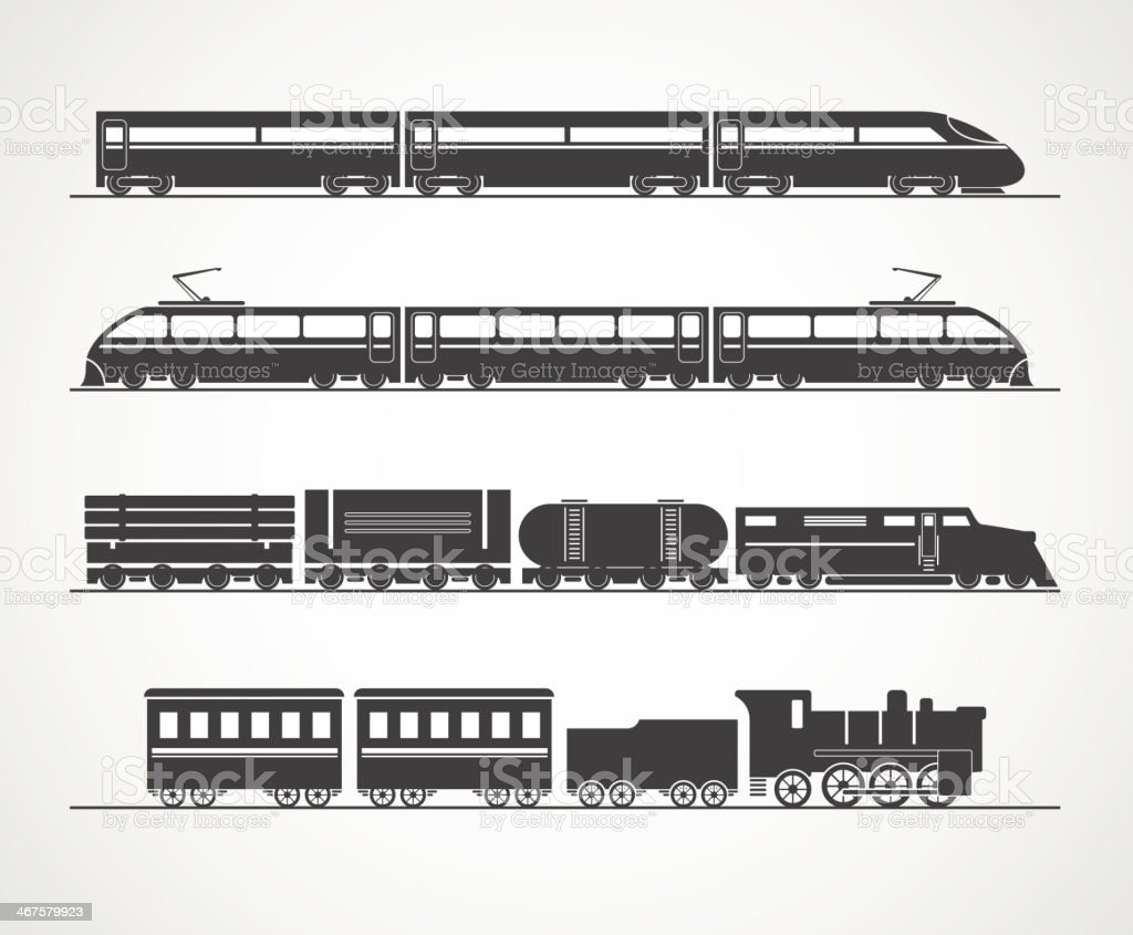 Modern and vintage train silhouette vector art illustration