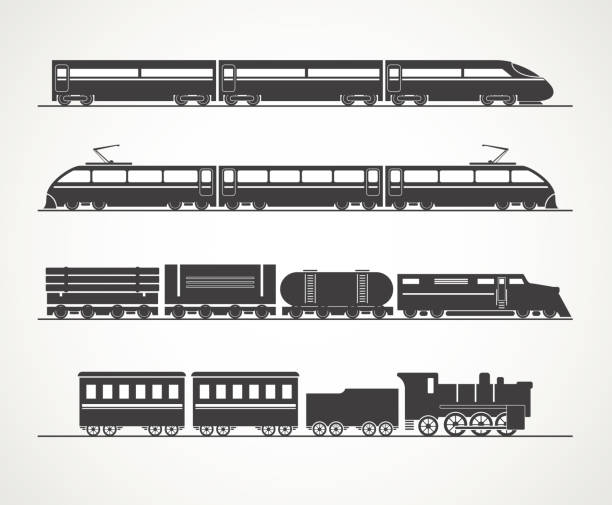 stockillustraties, clipart, cartoons en iconen met modern and vintage train silhouette - trein
