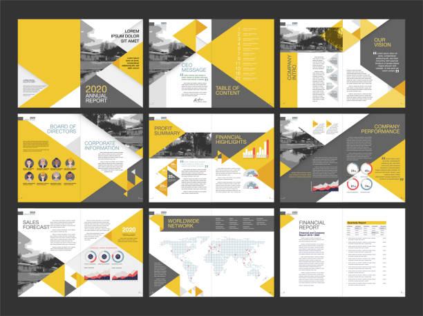 modern annual report layout design vector art illustration