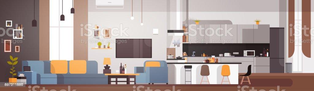 Apartamento Interior con sala de estar y cocina Banner Horizontal - ilustración de arte vectorial