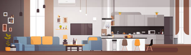 Modern Apartment Interior With Living Room And Kitchen Horizontal Banner Modern Apartment Interior With Living Room And Kitchen Horizontal Banner Flat Vector Illustration kitchen stock illustrations