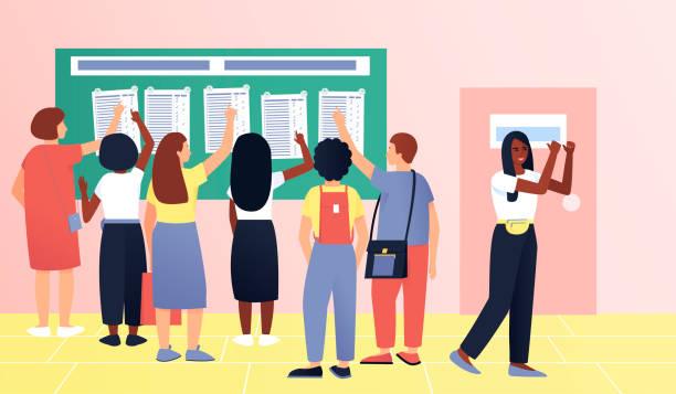 illustrazioni stock, clip art, cartoni animati e icone di tendenza di modern applicants after the exam - esame maturità
