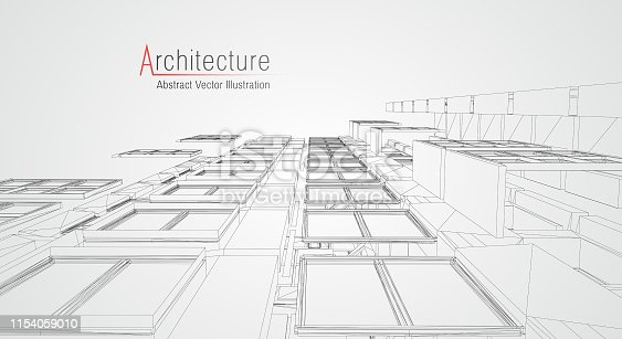 istock Modern architecture wireframe. Concept of urban wireframe. Wireframe building illustration of architecture CAD drawing. 1154059010
