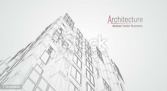 536856115 istock photo Modern architecture wireframe. Concept of urban wireframe. Wireframe building illustration of architecture CAD drawing. 1154059032