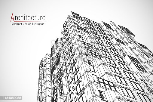 istock Modern architecture wireframe. Concept of urban wireframe. Wireframe building illustration of architecture CAD drawing. 1154059055
