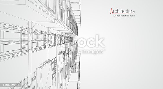 istock Modern architecture wireframe. Concept of urban wireframe. Wireframe building illustration of architecture CAD drawing. 1154059110