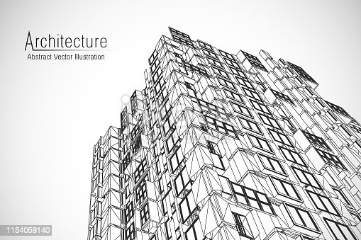 istock Modern architecture wireframe. Concept of urban wireframe. Wireframe building illustration of architecture CAD drawing. 1154059140