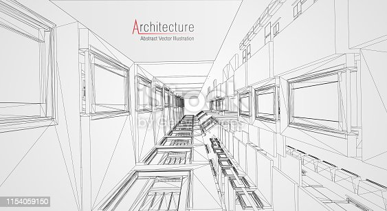 536856115 istock photo Modern architecture wireframe. Concept of urban wireframe. Wireframe building illustration of architecture CAD drawing. 1154059150