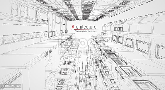 istock Modern architecture wireframe. Concept of urban wireframe. Wireframe building illustration of architecture CAD drawing. 1154059168