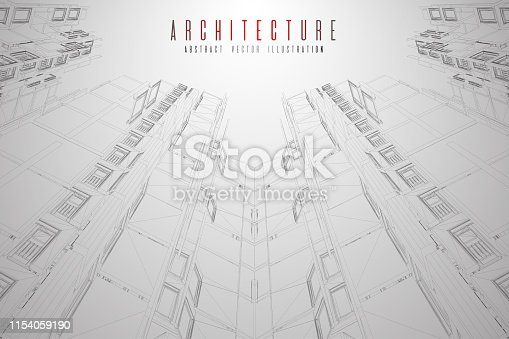 536856115 istock photo Modern architecture wireframe. Concept of urban wireframe. Wireframe building illustration of architecture CAD drawing. 1154059190