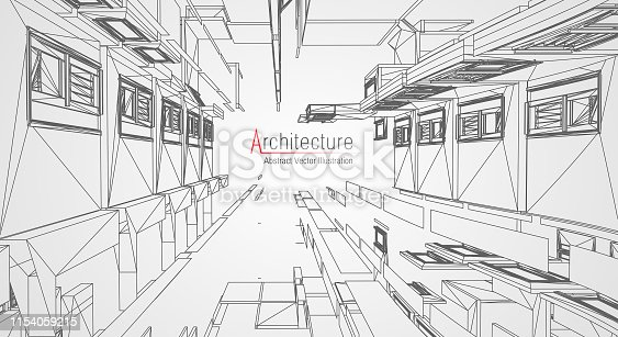 istock Modern architecture wireframe. Concept of urban wireframe. Wireframe building illustration of architecture CAD drawing. 1154059215