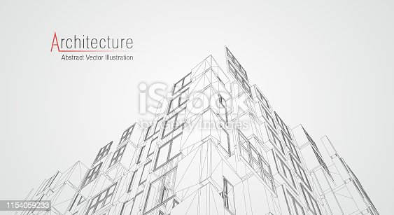 istock Modern architecture wireframe. Concept of urban wireframe. Wireframe building illustration of architecture CAD drawing. 1154059233