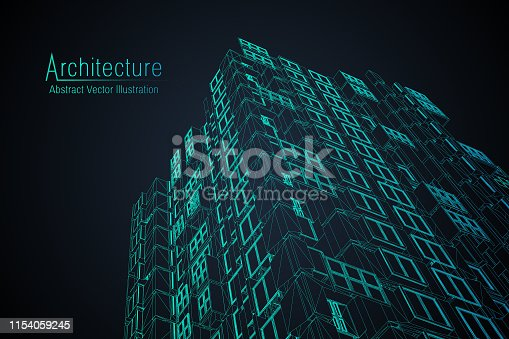 istock Modern architecture wireframe. Concept of urban wireframe. Wireframe building illustration of architecture CAD drawing. 1154059245