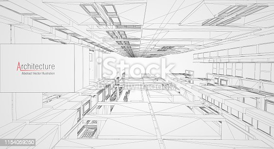 istock Modern architecture wireframe. Concept of urban wireframe. Wireframe building illustration of architecture CAD drawing. 1154059250