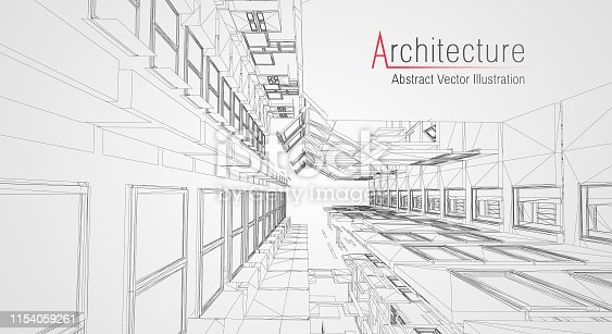 istock Modern architecture wireframe. Concept of urban wireframe. Wireframe building illustration of architecture CAD drawing. 1154059261