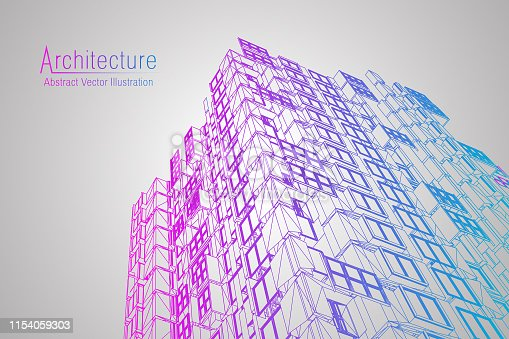 istock Modern architecture wireframe. Concept of urban wireframe. Wireframe building illustration of architecture CAD drawing. 1154059303