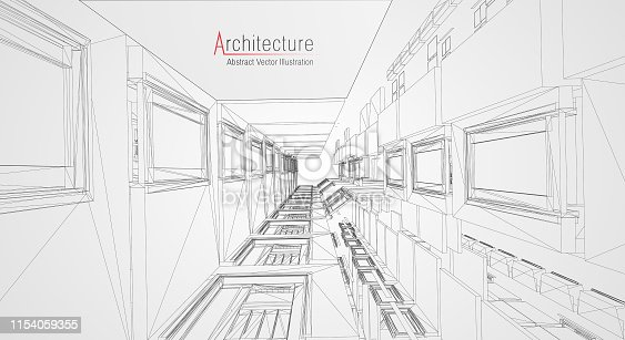 536856115 istock photo Modern architecture wireframe. Concept of urban wireframe. Wireframe building illustration of architecture CAD drawing. 1154059355