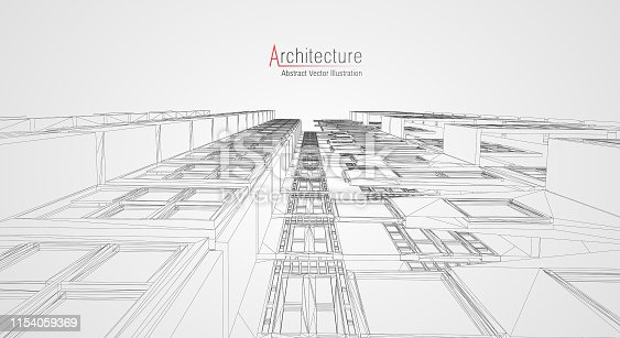 536856115 istock photo Modern architecture wireframe. Concept of urban wireframe. Wireframe building illustration of architecture CAD drawing. 1154059369