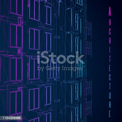 536856115 istock photo Modern architecture wireframe. Concept of urban wireframe. Wireframe building illustration of architecture CAD drawing. 1154059386