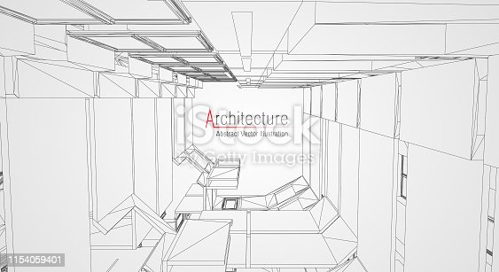 536856115 istock photo Modern architecture wireframe. Concept of urban wireframe. Wireframe building illustration of architecture CAD drawing. 1154059401