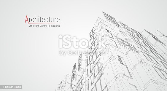 536856115 istock photo Modern architecture wireframe. Concept of urban wireframe. Wireframe building illustration of architecture CAD drawing. 1154059433