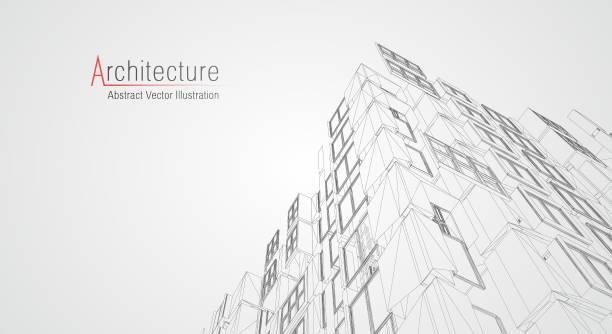 illustrazioni stock, clip art, cartoni animati e icone di tendenza di modern architecture wireframe. concept of urban wireframe. wireframe building illustration of architecture cad drawing. - realizzazione