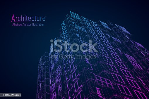 istock Modern architecture wireframe. Concept of urban wireframe. Wireframe building illustration of architecture CAD drawing. 1154059443
