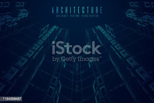 536856115 istock photo Modern architecture wireframe. Concept of urban wireframe. Wireframe building illustration of architecture CAD drawing. 1154059457