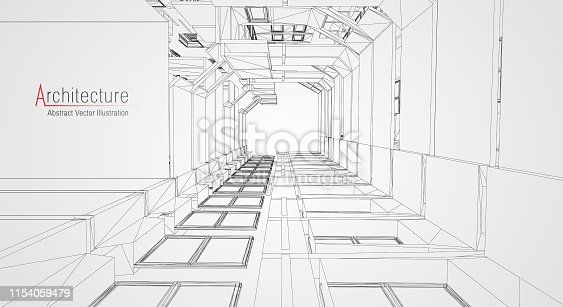 536856115 istock photo Modern architecture wireframe. Concept of urban wireframe. Wireframe building illustration of architecture CAD drawing. 1154059479