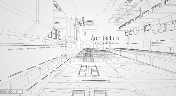 istock Modern architecture wireframe. Concept of urban wireframe. Wireframe building illustration of architecture CAD drawing. 1154059488