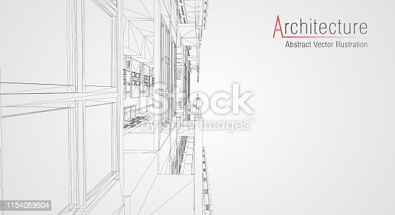 536856115 istock photo Modern architecture wireframe. Concept of urban wireframe. Wireframe building illustration of architecture CAD drawing. 1154059504