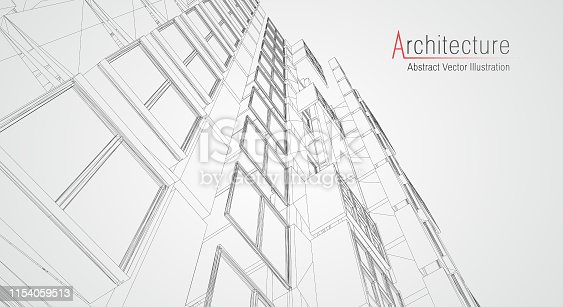 536856115 istock photo Modern architecture wireframe. Concept of urban wireframe. Wireframe building illustration of architecture CAD drawing. 1154059513