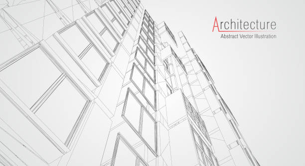 stockillustraties, clipart, cartoons en iconen met moderne architectuur draadmodel. concept van stedelijk draadmodel. draadmodel gebouw illustratie van architectuur cad-tekening. - wolkenkrabber
